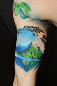 Crazy realistic landscape tattoo. Wow