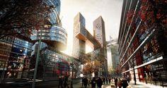 Cross # Towers   by Danish architects BIG   Client: Dreamhub   Yongsan ( 용산구 ) International Business District, Seoul ( 서울 ), South Korea ( 대한민국 )