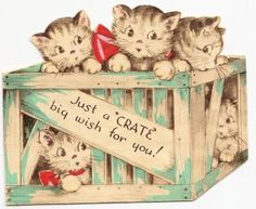Vintage Illustration cats in a crate ⊂((・x・))⊃ More - Vintage Birthday Cards, Vintage Christmas Cards, Vintage Valentines, Vintage Holiday, Christmas Cats, Vintage Ephemera, Vintage Cards, Vintage Postcards, Vintage Paper