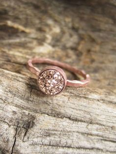 Tiny Rose Gold Druzy Ring Titanium Drusy Quartz 18K Rose Gold Vermeil Hammered Band by julianneblumlo on Etsy https://www.etsy.com/listing/169370815/tiny-rose-gold-druzy-ring-titanium-drusy