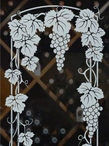 Vineyard Grapes Solid Frost Trellis (close up) Glass Etching Designs, Glass Painting Designs, Paint Designs, Sandblasted Glass, Etched Glass, Frosted Glass Design, Grape Tree, Creative Food Art, Glass Engraving