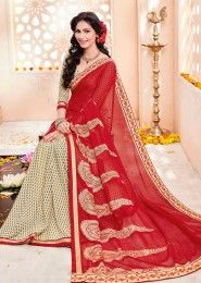 Party Wear Red Georgette Printed Saree