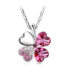 Lucky Clover Necklace For Women Summer Rhinestone Silver Plated Fine Jewelry Fashion Women Pendants  #fashion #croptshirt #cropped #jewelery #croptops #jewellery