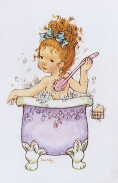 Sarah Kay: Girl taking a bath Sarah Key, Holly Hobbie, Sara Key Imagenes, Cute Images, Cute Pictures, Foto Poster, Illustrations, Cute Illustration, Vintage Pictures