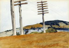 "Edward Hopper ""Civil War Campground"", 1926 watercolor x cm The Albrecht-Kemper Museum of Art, St. Manet, Edouard Vuillard, American Realism, American Artists, Abstract Landscape, Landscape Paintings, Edward Hopper Paintings, Francis Picabia, Paisajes"
