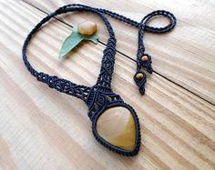 Collar de macrame de cuarzo cristal joyas de por SelinofosArt