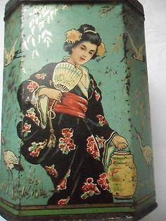 Vintage Japanesque tea caddy tin