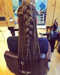 Half Updo For Long Box Braids