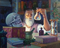 The Alchemist: Each object is symbolic of the elements necessary for the great awakening. - Art of Jonathan Wiltshire