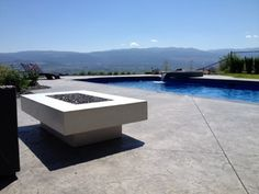 White Concrete Fire Table Fired Earth, Fire Table, White Concrete, Fire Bowls, Backyard Ideas, Outdoor Decor, Modern, Beautiful, Trendy Tree