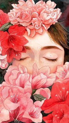 gambar flowers, wallpaper, and art Art Inspo, Kunst Inspo, Inspiration Art, Art And Illustration, Illustrations, Landscape Illustration, Portrait Illustration, Art Girl, Art Reference