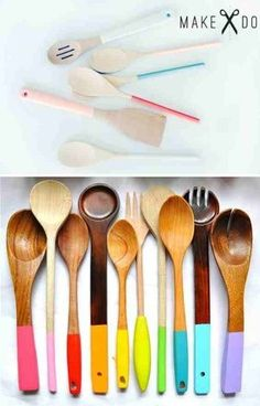 I <3 wooden cooking utensils, so much better than plastic. This is a cute color upgrade. Paint the ends, adds some color but not too much.