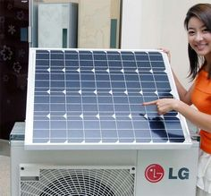 Very smart!!! An air-conditioner connected to it's own solar panel! lg air conditioner 2