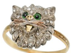 A rose cut diamond Victorian cat motif ring in silver and gold. The feline antique cat ring has gold rose, whiskers and tongue. Antique Rings, Antique Jewelry, Art Deco Jewelry, Nice Jewelry, Hardware Jewelry, Victorian Jewelry, Victorian Era, Black Iris, Cat Ring