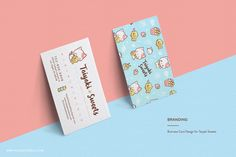 Japanese-Inspired Character Logo and Branding, Taiyaki Sweets, Kawaii Neko Cute Cat Eating Taiyaki Fish, Business Card