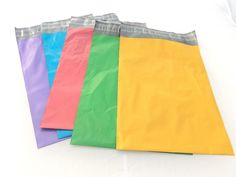 "Amazon.com : 100 -10x13"" Green/Pink/Blue/Purple/Yellow *Color Combo Flat Poly Postal Mailer Bags : Office Products"