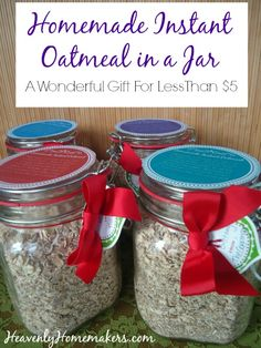 Homemade Instant Oatmeal in a Jar Gift for Less Than $5 - plus free printable gift tags!