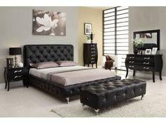 Lit design capitonné cuir Lady strass black 160 cm