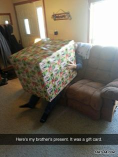 Christmas present prank…keep butting boxes in boxes in boxes until they get really small