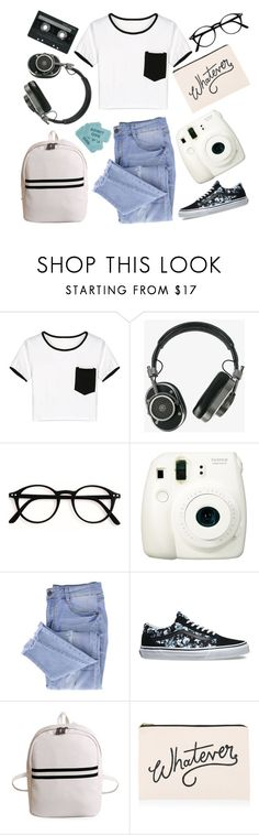 """black n white retro"" by rumpelkiste ❤ liked on Polyvore featuring WithChic, CASSETTE, Master & Dynamic, Fuji, Essie, Vans and ALPHABET BAGS"