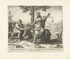Cornelis Cort | Rechtvaardigheid beloont de knecht, Cornelis Cort, Antonio Lafreri, 1566 | Rechtvaardigheid beloont de hard werkende knecht voor het volbrachte werk. Achter de man staan twee ossen waarmee hij het land heeft bewerkt waarop nu het graan staat (rechts).
