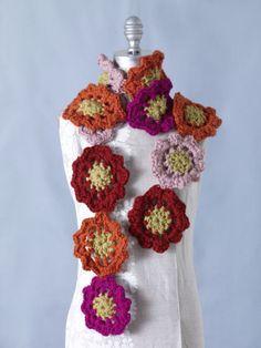 Flower Motif Scarf Crochet Pattern | FaveCrafts.com