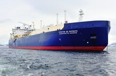 The icebreaking LNG carrier Christophe de Margerie has set a new record for the fastest crossing of the Northern Sea Route for an unescorted ship during the month of July, according to its owner. Lng Carrier, Tanker Ship, Journey, Train, Sailing Adventures, Ships, Boats, The Journey, Strollers