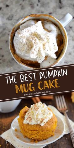 Craving a sweet pumpkin treat but don't want an entire cake or a batch of muffins in your house? This is the perfect recipe to have on hand! The Best Pumpkin Mug Cake is amazingly easy and delicious. 5 ingredients and 5 minutes are all you need to make this fall dessert! Pumpkin Recipes Easy Quick, Easy Pumpkin Cake, Easy Pumpkin Desserts, Pumpkin Mug Cake Recipe, Pumpkin Pie Cupcakes, Autumn Desserts, Easy Mug Cake, Vegan Pumpkin Pie, Pumpkin Pumpkin