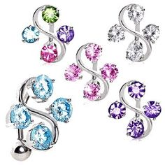 Top Down Navel Ring with Four Round CZs on Vine