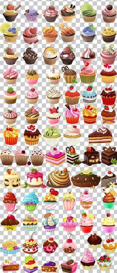 Скачать Рисованный клипарт для Фотошопа - Аппетитные кексы на прозрачном фоне бесплатно