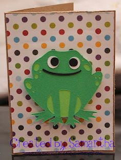 Frog card using Pink by Design sentiment stamp.