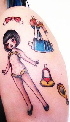 my paperdoll arm tattoed by Sarita www.elstudiodesar...