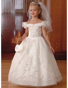 Reliable and Cheap White Puff Sleeves First Communion Dresses/ Appliques Tulle Bubble Skirt Flower Girl Dresses