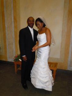 #Bride, Renee' and #Groom, Orvell, at their #Valentine's #Day #Wedding at Ruth's Chris Steak House in #Boston
