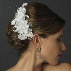 Fabric Flower Rhinestone Bridal Hair Clip