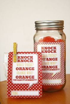 Orange You Glad Its Summer - end of the year gift for friends and teacher - free printable.