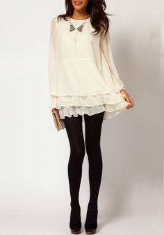 Creamy-white Cascading Ruffle Long Sleeve Chiffon Dress