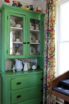 dining room hutch painted in Antibes Green ASCP Green Dining Room, Cottage Dining Rooms, Dining Room Hutch, Green Rooms, Furniture Projects, Furniture Makeover, Diy Furniture, Chair Makeover, Furniture Refinishing