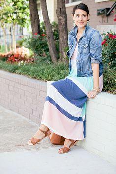 Striped pastel maxi dress with denim jacket
