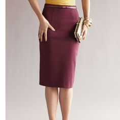 """HALOGEN ZIP BACK KNIT PENCIL SKIRT Burgundy full knee length skirt (26"""") Size 6 -59% Rayon / 35% Nylon / 6% Spandex -  Zipper at the back, and small belt loops- belt not included-dress this skirt up for work, or down for a more casual look- this skirt can be worn for any occasion.  Never Worn. Halogen Skirts Pencil"""