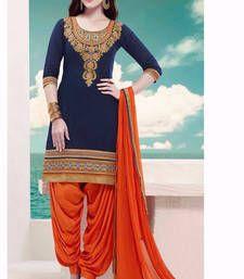 Buy Blue cotton semistiched salwar suits cotton-salwar-kameez online