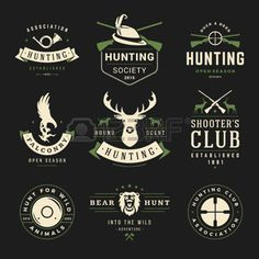 deer silhouette: Set of Hunting and Fishing Labels, Badges, Vector Design Elements Vintage Style. Deer head, hunter weapons, forest wild animals and other objects. Advertising Hunter Equipment.