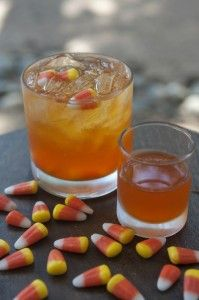 Candy Corn Shots - 1.5 cups candy corn and 1 liter vodka.  Put ingredients in a jar and let infuse until candy is gone as a cocktail pour over ice and top with club soda