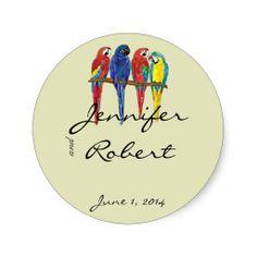 Tropical Parrots Envelope Seal Stickers