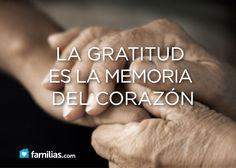 """Ser agradecidos se cultiva día a día, aunque la publicidad insista en inventar días para expresarla. No hagas de la palabra """"gracias"""" un mero trámite formal ante los demás."""