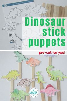 DINOSAUR STICK PUPPETS!  Do you have a kid in your life who loves dinosaurs?  These dino stick puppets are a perfect gift or indoor activity for your toddler, preschooler, or elementary aged kids!  BEST OF ALL, YOU DON'T HAVE TO CUT ANYTHING!!!  Let us do the cutting for your!  These also make a perfect party favor for a dinosaur-themed birthday party!  #dinostickpuppets #easycraftforkids Popsicle Stick Crafts For Kids, Craft Stick Crafts, Crafts To Do, Easy Crafts, Kids Crafts, Diy Crafts For Tweens, Craft Projects For Kids, Project Ideas, Rainy Day Crafts
