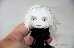 Vampire Girl Art Doll Brooch mixed media collage by miopupazzo