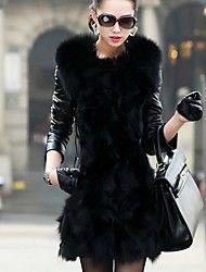 inverno raposa casaco de couro da pele das mulher... – EUR € 49.63
