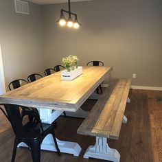 Triple Pedestal farmhouse Table | Do It Yourself Home Projects from Ana White   Top is stained with minwax early American, sanded down, whitewashed, then 4 coats of matte poly! ❤️