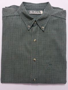 Cactus-  Men's Shirt Size Large - Flannel Green & Beige Plaid - Long Sleeve & Button Collar #CactusClothing ..... Visit all of our online locations ..... (www.stores.eBay.com/variety-on-a-budget) ..... (www.amazon.com/shops/Variety-on-a-Budget) ..... (www.etsy.com/shop/VarietyonaBudget) ..... (www.bonanza.com/booths/VarietyonaBudget ) .....(www.facebook.com/VarietyonaBudgetOnlineShopping)
